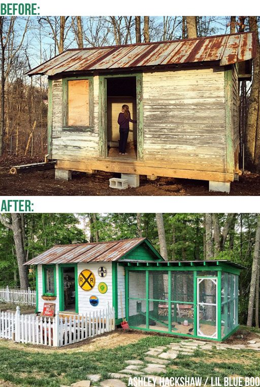Chicken Coop and Chicken Run Before and After Design