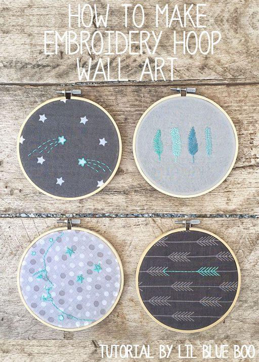 Embroidery hoop wall art tutorial - easy DIY using printed fabric