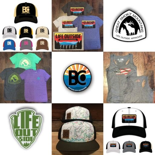 outdoor themed t-shirts and hats
