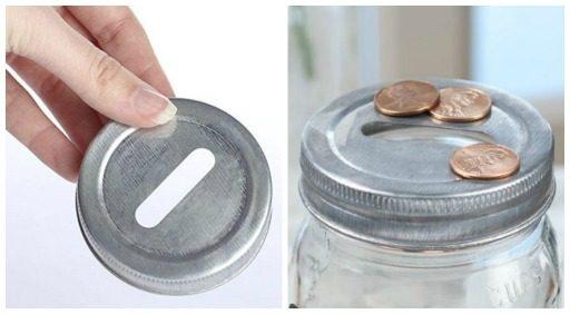Coin slot lids for mason jars - create a bank with a mason jar