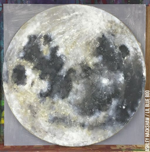 Space Crafts and Moon Crafts - Moon project ideas - painting on wood round blanks