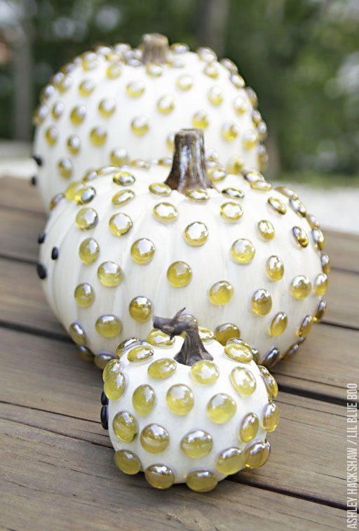 No Carve Pumpkin Decorating Ideas - Hedgehog Pumpkins
