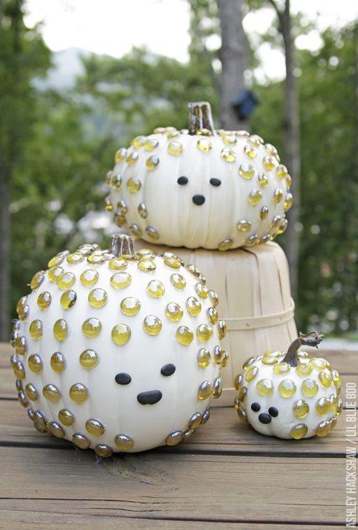 Porcupine Hedgehog Pumpkins - No Carve easy pumpkin decorating for kids