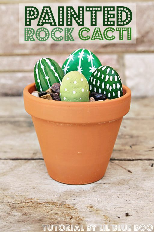 DIY Painted Rock Cactus Plants - Garden Craft with Painted Rocks