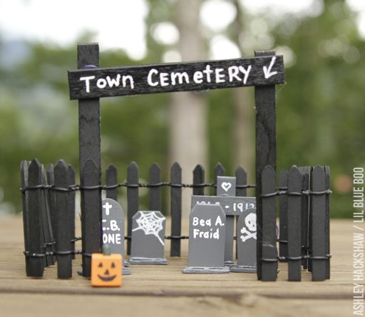 Halloween Fairy Village ideas - cemetery and tombstones