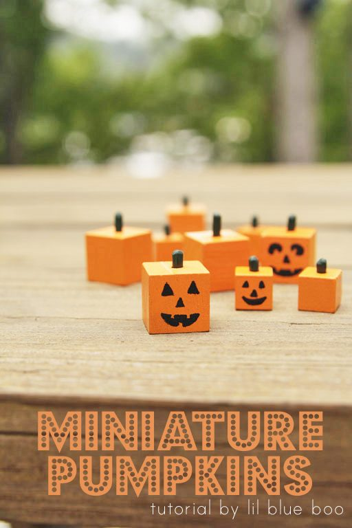 How to make miniature pumpkins - Halloween craft - square wood pumpkins