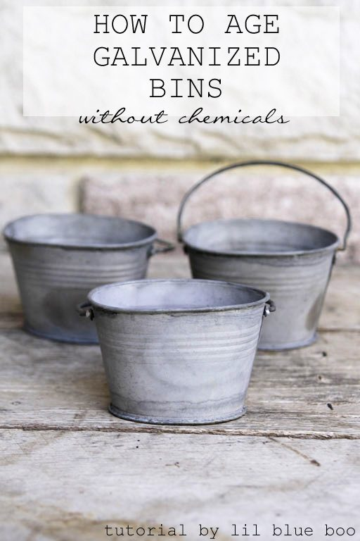 How to distress Galvanized Metal Bins and buckets - instantly age tin without harsh chemicals