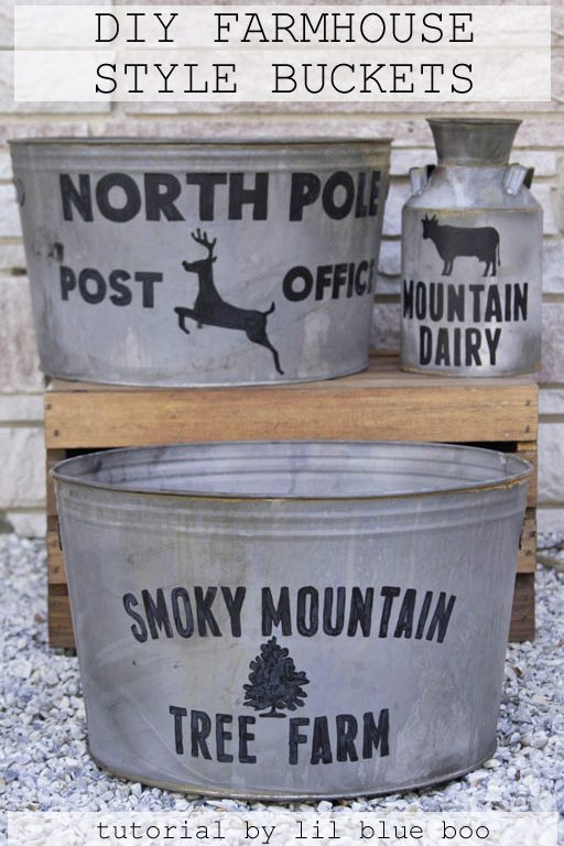 DIY Farmhouse Galvanized Bucket - Distressing Galvanized Metal Tubs and Painting Farmhouse Style Buckets - Free template for download #christmas #michaelsmakers #madeitwithmichaels