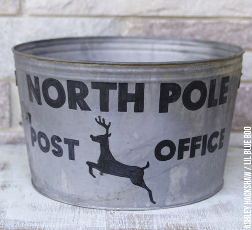 How to Make a Tree Skirt out of a Galvanized Tub - How to Stencil a metal bucket