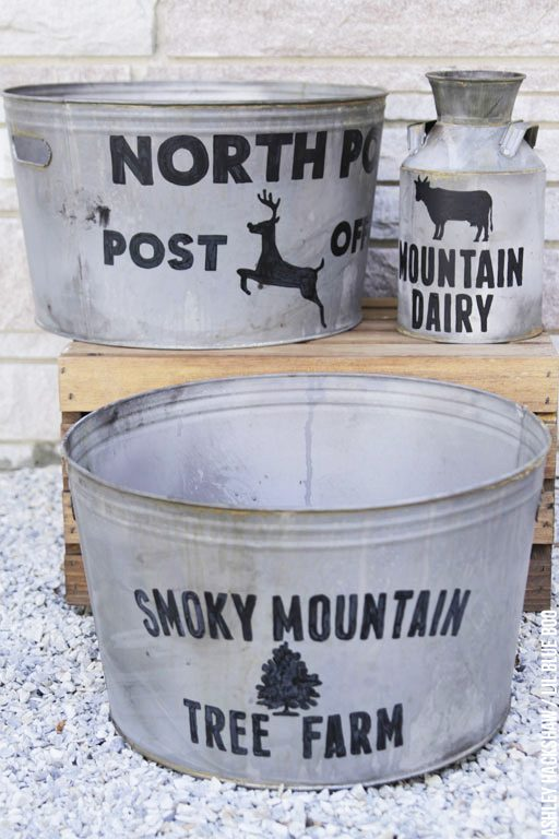 DIY Farmhouse Galvanized Bucket - North Pole Post Office and Dairy Bucket