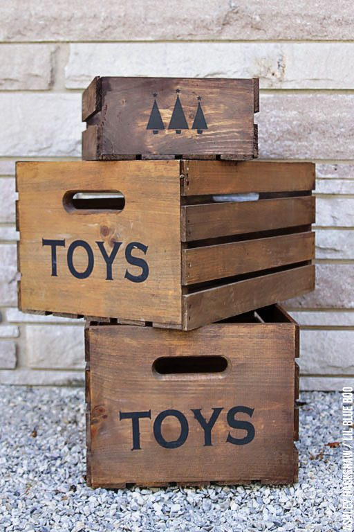 Farmhouse christmas decorating ideas - Wood Crates for Under Tree