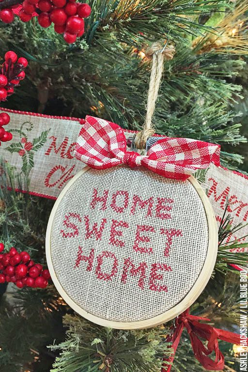 5 Minute Embroidery Hoop Ornaments - Home Sweet Home