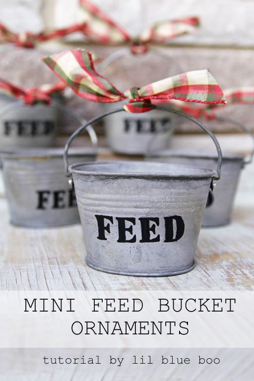 DIY Rustic Christmas Ornaments Ideas - Use small galvanized buckets for tiny feed bucket ornaments - Rustic Farm and Farmhouse Christmas Theme
