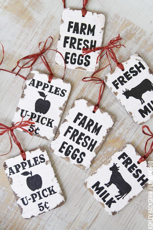 Vintage Inspired Farm Sign Ornaments - how to make vintage signs wood