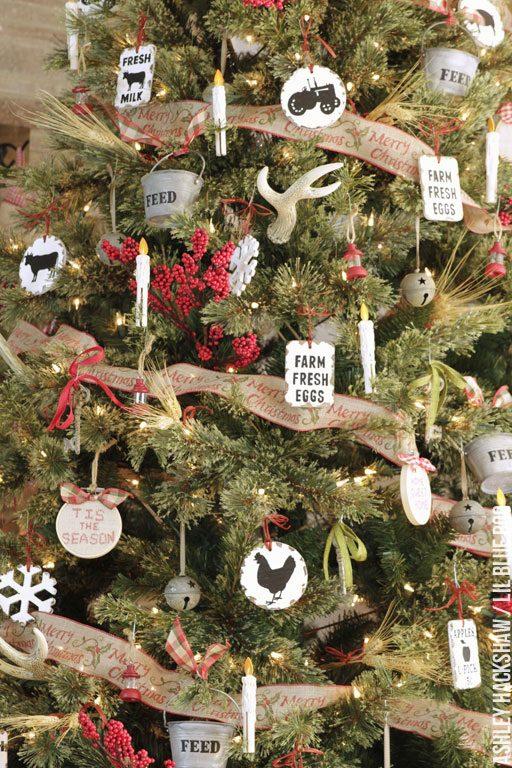 handmade christmas ornament ideas - rustic farmhouse