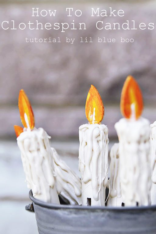 How to Make Clothespin Faux Candles - Rustic Christmas Tree Decor Vintage Candles