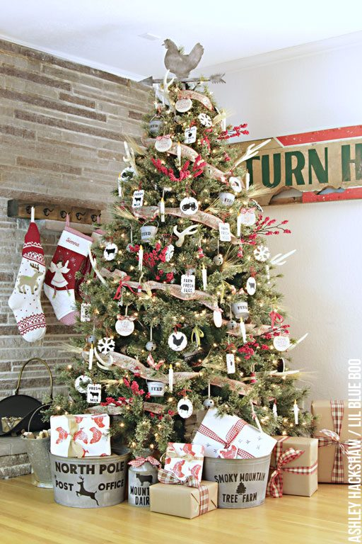 Rustic Farmhouse Christmas Ornaments - Rustic Farmhouse Christmas Tree and Easy DIY Handmade Rustic Vintage Ornaments