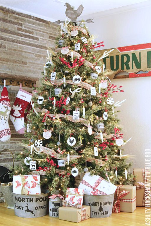 Rustic Farmhouse, Dream Tree Reveal - Handmade ornaments for a vintage inspired tree