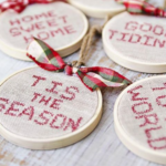 Faux Cross Stitch Hoop Ornaments