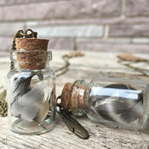 Feather Necklace on Etsy Handmade - Tiny Terrarium Jar necklace