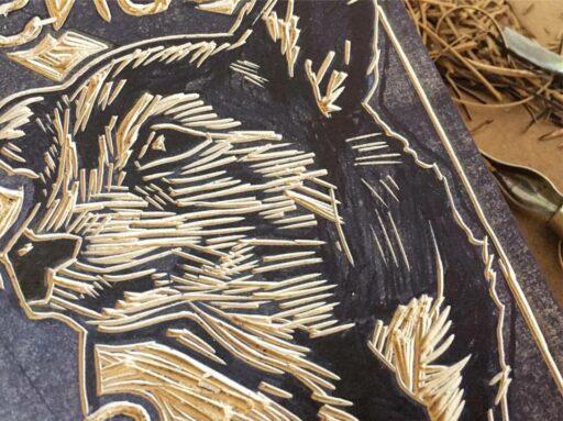 Linocut - Etsy shop art - Animal Dog Print