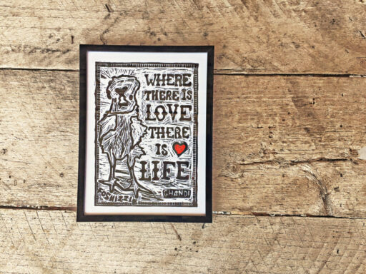Where There is Love There is Life - Block Print - Chicken Art and Love quote - Home decor handmade - Lino cut