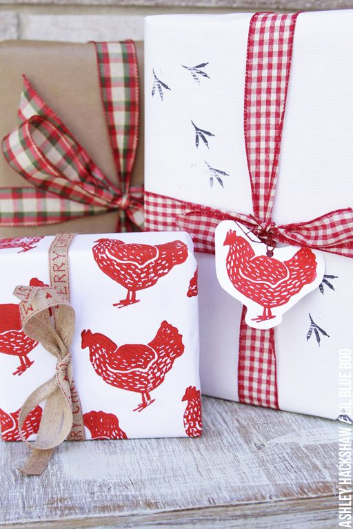 DIY Stamped Holiday Wrapping Paper