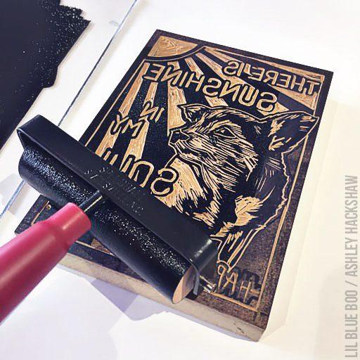 How to apply ink to the block print - linoleum block