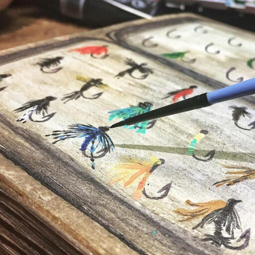 fly fishing flies painting and artwork