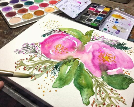 Floral Watercolor painting - art quote #2017paintingaday - Painting by Ashley Hackshaw / Lil Blue Boo