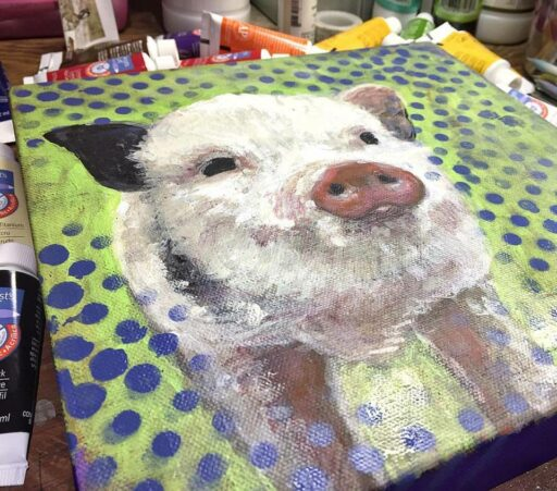 Piggy Painting - Week 3 Painting a Day 365 Project