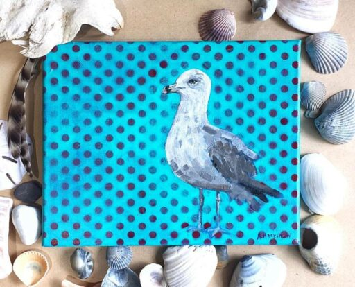 Seagull Acrylic Painting- Week 3 Painting a Day 365 Project - Ashley Hackshaw