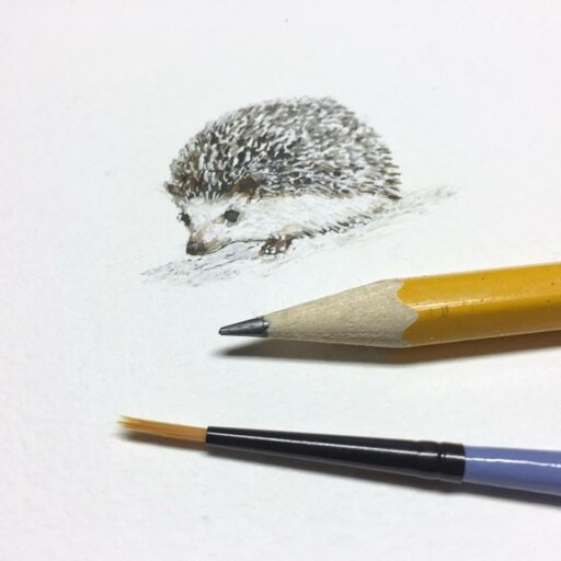 Tiny Hedgehog painting in Watercolor - Week 3 Painting a Day 365 Project - Ashley Hackshaw