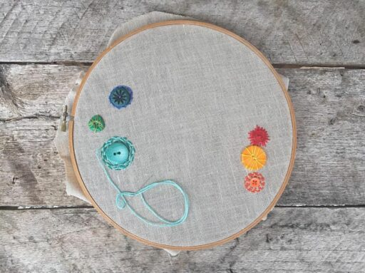 a stitch a day - one embroidery stitch a day to this hoop for the entire year