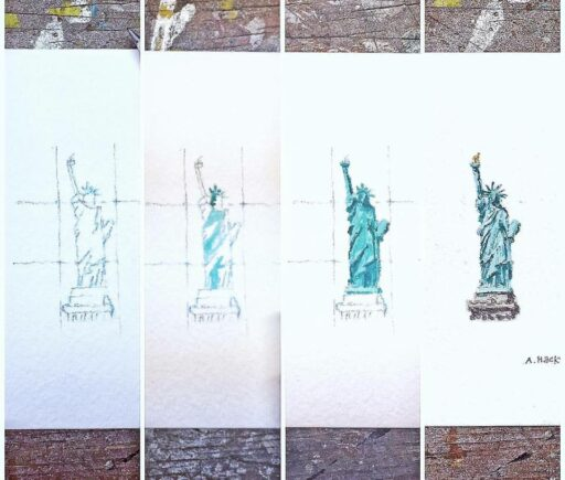 Daily Painting - Tiny Statue of Liberty - Watercolor - Tiny Miniature Painting