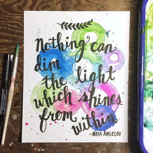 Daily Painting - Maya Angelou Quote - Watercolor