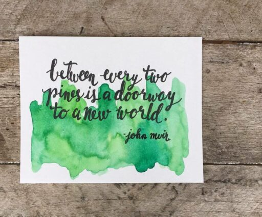Daily Painting - Abstract Pine Trees and Joh Muir Quote - Watercolor