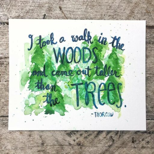 Daily Painting - Thoreau Quote - Watercolor