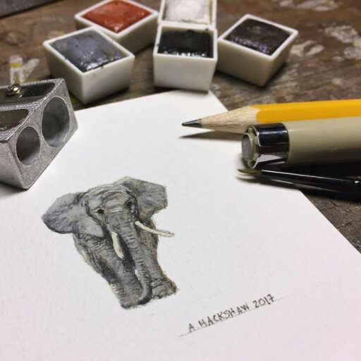 Tiny Painting - Elephant - Watercolor