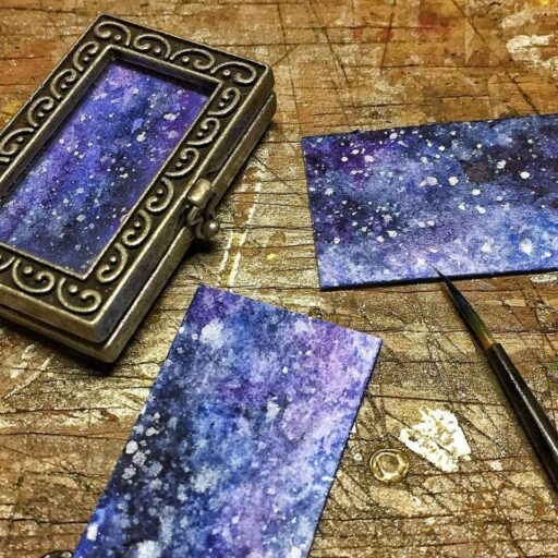 Tiny Paintings in lockets - Galaxies - Watercolor