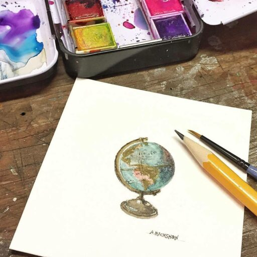 Tiny Globe Watercolor Painting - Tiny Painting - 365 Project