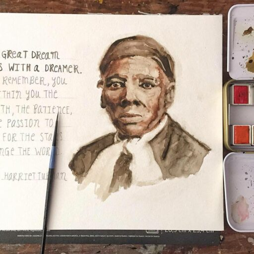 Daily Painting - Harriet Tubman Portrait and Quote - Watercolor - Black History Month