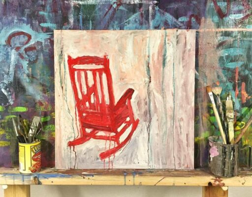 Acrylic Rocking Chair on Canvas - Ashley Hackshaw - 365 Project - Daily Painting