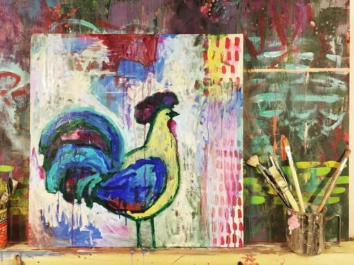 Acrylic Rooster Painting on wood panel - Ashley Hackshaw - 365 Project