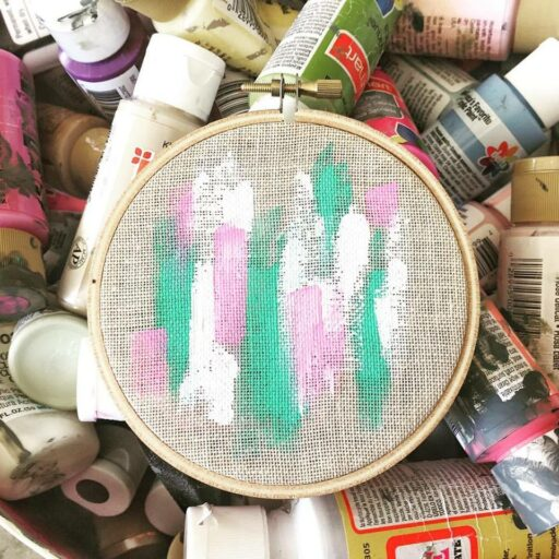 Abstract painting embroidery hoop