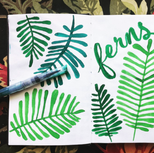365 Project - Daily Painting - Watercolor Ferns
