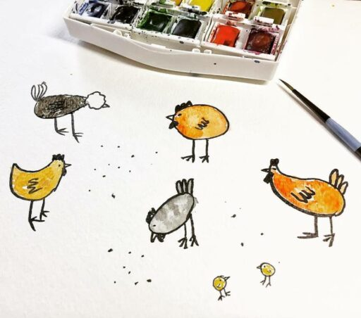 Chicken Doodles - Watercolor Illustrated