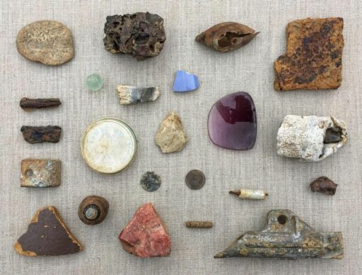 Things I Found on the Fontana Lake Bed - Found Object Collage - Metal Detecting Finds