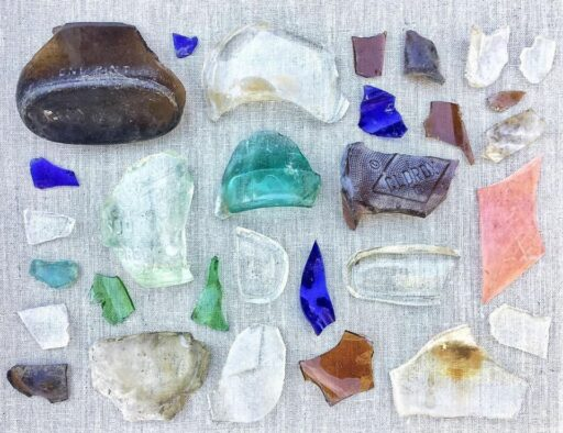 A collection of glass in a found object collage