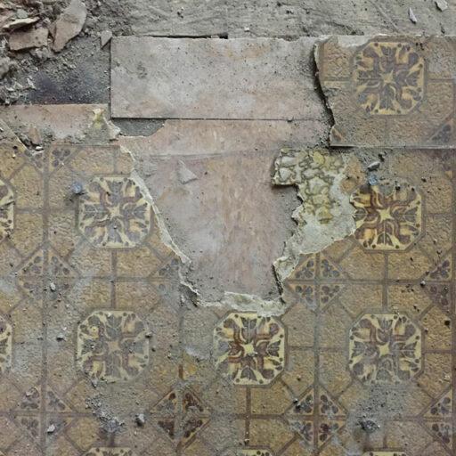 Old linoleum and vinyl flooring